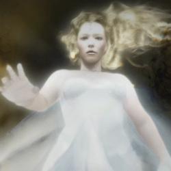 Beatriz deixou de ser adolescente pra virar o fantasma de branco.